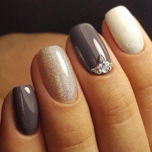 Accurate nails, Beautiful nail colors, Evening nails, Exquisite nails, Fall nail ideas, Glossy nails, Gray nails, Nails with liquid stones