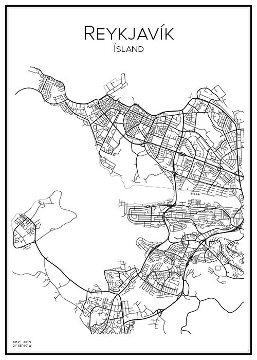 Reykjavik. Island. Karta. City print. Print. Affisch. Tavla. Tryck.