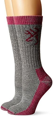 Browning Hosiery #Women's Heavyweight Wool #Socks Pack (2 Pair), Grey, Large Made by #Browning Hosiery Color #Grey. Flat toe seam; Full cushion leg and foot. Heavyweight for cold weather. Moisture management. Arch support for added fit. Ultra soft merino wool; Made in USA