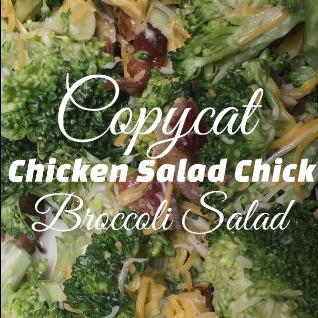 Copycat Chicken Salad Chick broccoli Salad. Visit Facebook.com/TorysFoodBlog for the recipe!