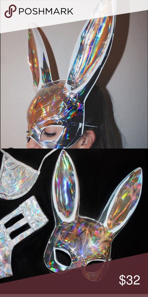 Holographic Rave bunny mask Perfect for Halloween or your rave that's coming up! It's festival season baby ✨ NEVER WORN Other