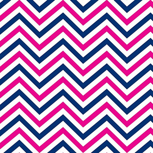 In The Navy Fabric Collection By Camelot Designer Jackie Mcfee Nautical Navy Blue and Hot Shocking Pink CHEVRON Zig Zag on White