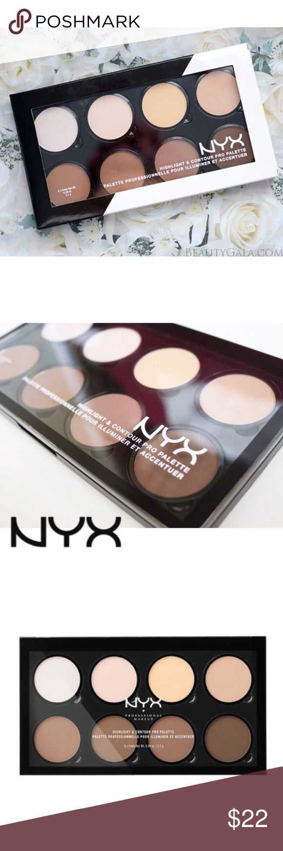 """✨NEW NYX Highlight and Contour Pro Palette  Brand new, unopened NYX Highlight and Contour Pro Palette. From my smoke free home. Original Retail: $30  ABOUT: """"Define your features like a pro with NYX Cosmetics refillable Highlight & Contour Pro Palette! Each set includes four customizable highlighting and contouring shades perfect for emphasizing your favorite features."""" NYX Makeup"""
