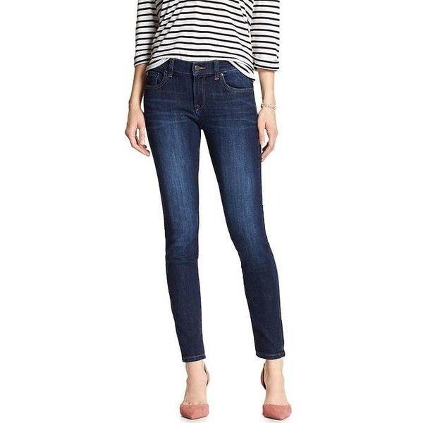 Banana Republic Dark Skinny Jean ($34) ❤ liked on Polyvore featuring jeans, petite skinny jeans, banana republic jeans, skinny leg jeans, petite super skinny jeans and dark denim skinny jeans