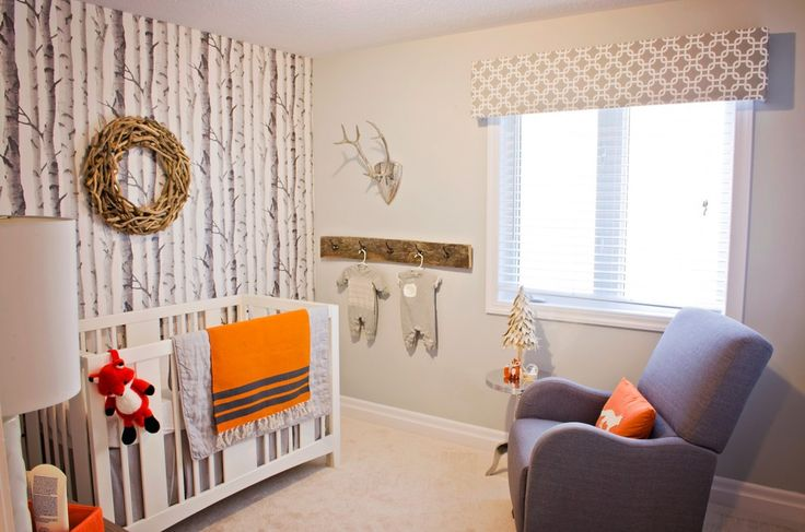 Cute wood wall shelf with hooks and orange accents I also like the birch tree wall
