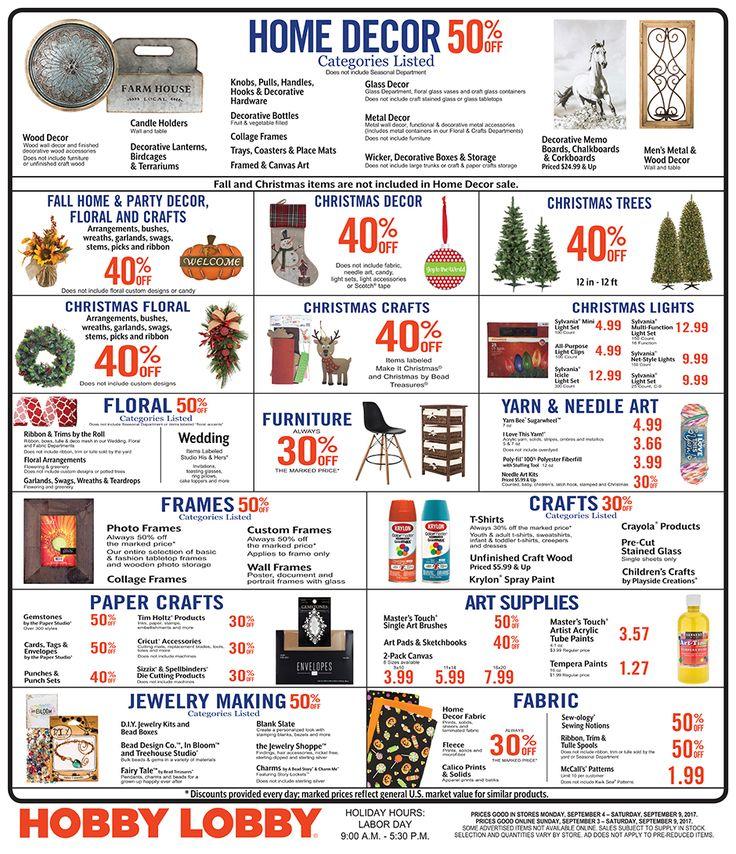 Hobby Lobby Weekly Ad September 3 - 9, 2017 - http://www.olcatalog.com/grocery/hobby-lobby-weekly-ad.html