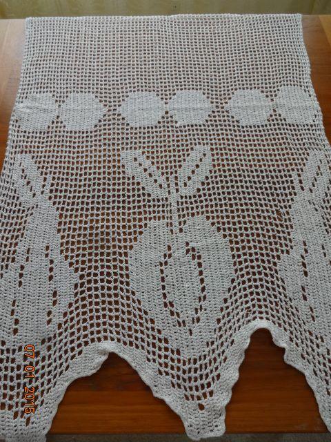 Crocheted Kitchen Curtain #1