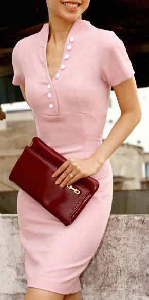 pink pencil dress -- idea for madmen mondays would like this in green