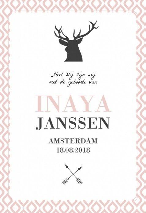 Heel stoer met een scandinavische uitstraling! Dit geboortekaartje is een enkel kaartje met op de voorzijde een hert en pijl en boog en op de achtergrond een zacht roze patroon. Lief en uniek voor een meisje.