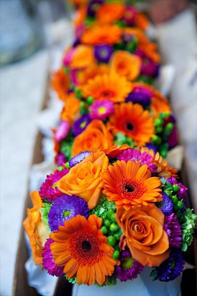 floral arrangement purple orange green | Stephanie & Kenneth: A classic and sophistocated fall wedding in ...