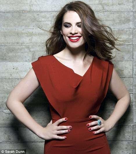 Hayley Atwell in Red Poplin Dress