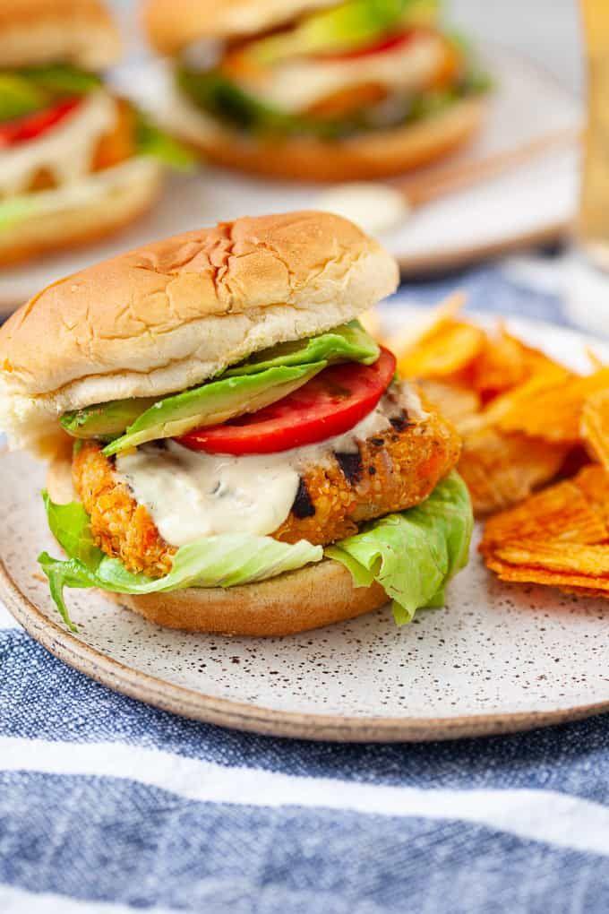 Buffalo Chickpea Veggie Burgers Recipe In 2020 Blue Cheese Burgers Recipes Recipes Veggie Burgers Recipe