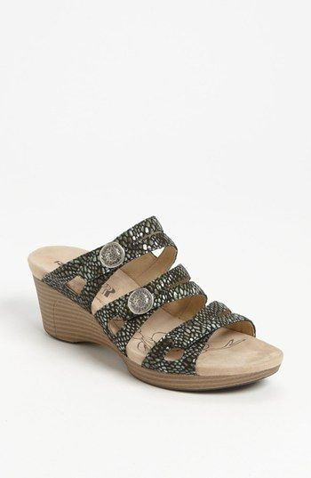 Romika® 'Jamaika 02' Reptile Embossed Wedge Slide leather grey(na), black, platinum 2.5h sz38 129.95 3/16