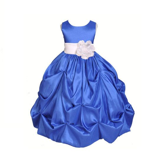Royal Blue / choice of color sash Taffeta Flower by ekidsbridalusa