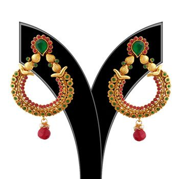 Maroon and Green Stone Studded Earing