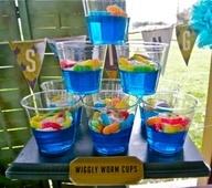 Blue jello, gummy fish!