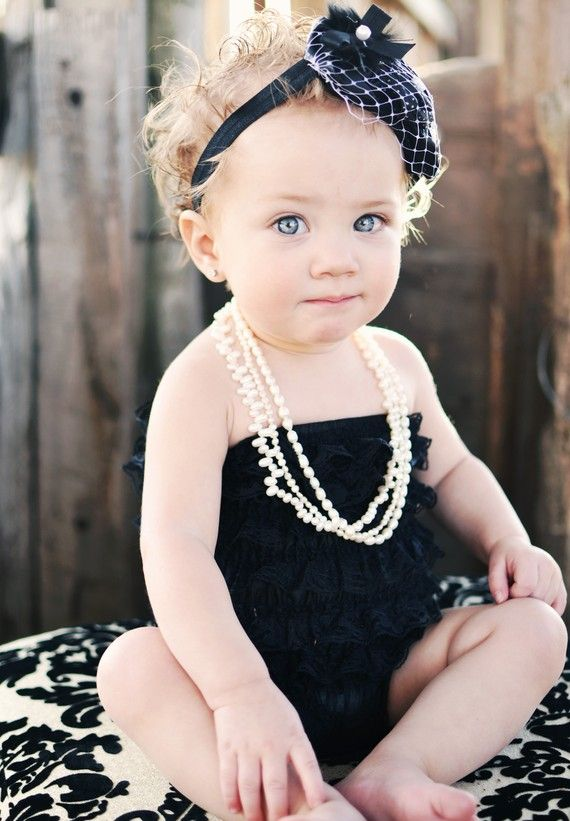 {photo op} love the french netting headband, ruffled LBR (little black romper),