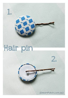 Neat way to dress up a bobby pin: Hair Pin, Ideas, Covers Buttons, Diy Hair, Hairs, Hairpin, Hair Accessories, Buttons Hair, Bobby Pin