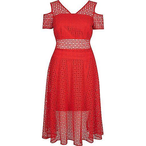 Roodkanten schouderloze midiavondjurk - swing-jurken - jurken - dames