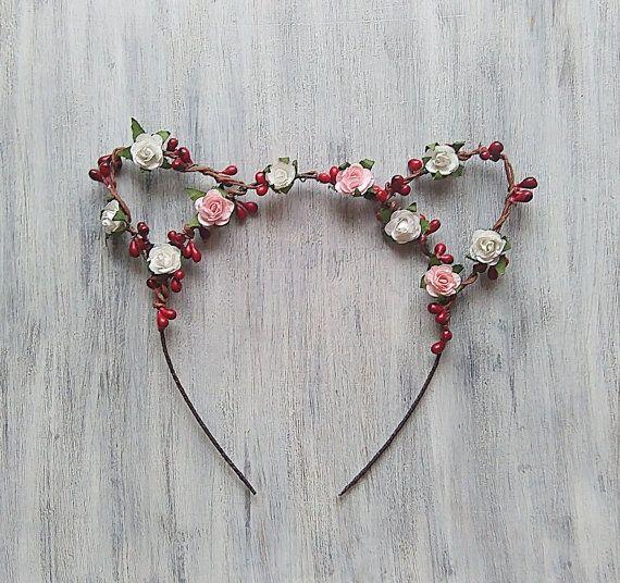 Flor diadema de orejas de gato, orejas de gato flores, oreja de gato,