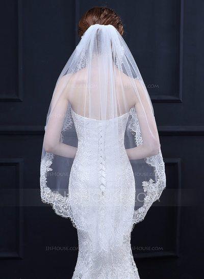 [US$ 16.99] One-tier Lace Applique Edge Waltz Bridal Veils With Lace