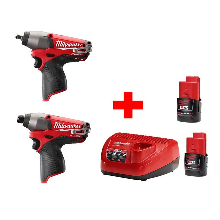 Milwaukee M12 12-Volt Lithium-Ion Cordless Fuel 3/8 in. Impact Wrench and Fuel 1/4 in. Hex Impact Driver Combo Kit (2-Tool)