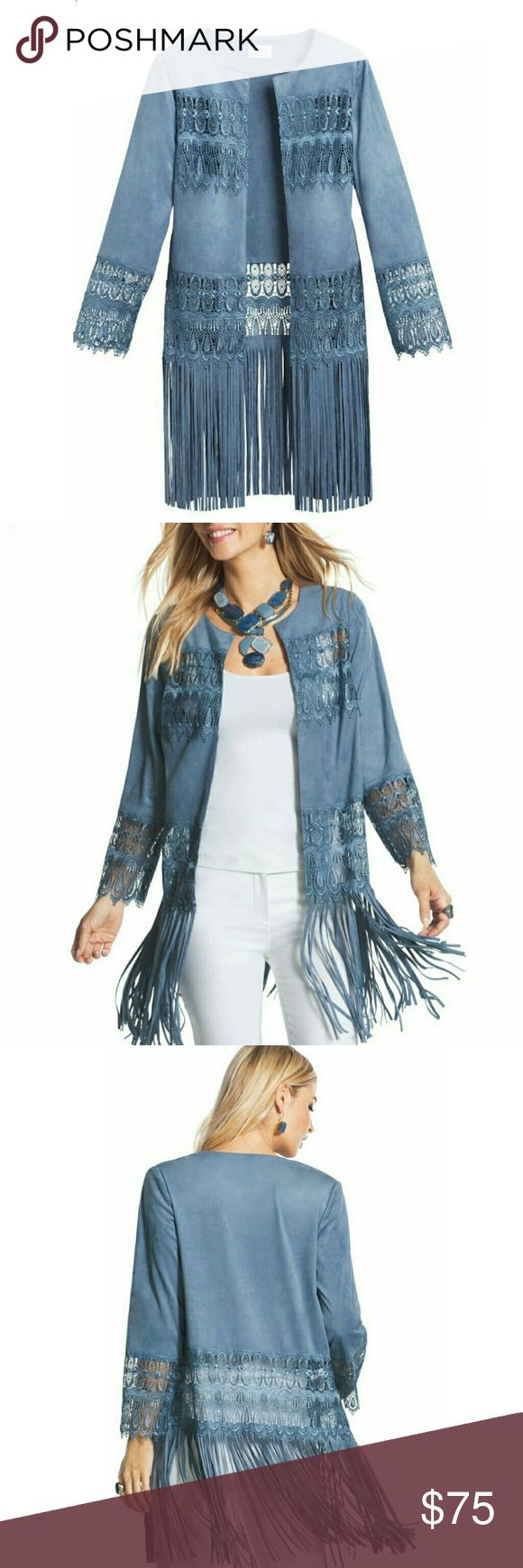 """Lace & Fringe Suede Jacket Open front blue faux suede jacket. Sheer lace panels, bracelet sleeves. Extra long fringe swings from hips. Soft polyester/spandex blend.  Size: 12 Measurements: Bust: 22""""  Sleeve: 21""""  Length: 36""""  NO Trade / NO Paypal Chicos Jackets & Coats"""