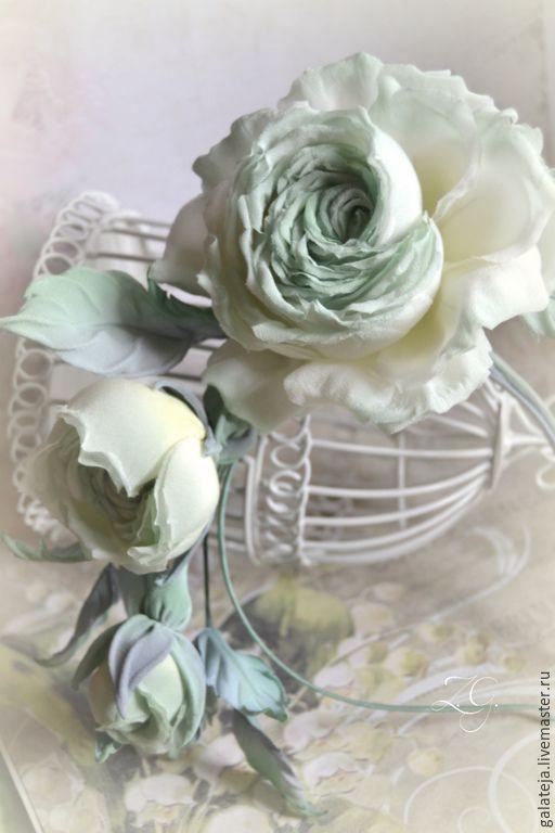 Купить Цветы из шелка ободок Принцесса Мята - мятный, розы, розы в прическу, ободок для волос