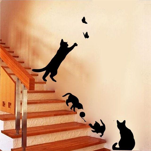 4 mignon chats jouer wall autocollants enfants chambre décorations 707. diy stickers muraux accueil stickers vinyle art animaux affiche adesivos de paredes 4.5