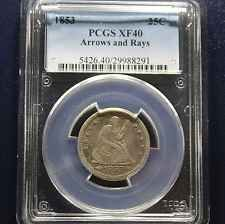 1853 Seated Liberty Quarter PCGS XF40 - Arrows and Rays