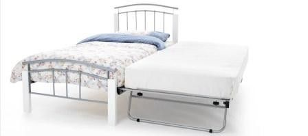 #Tetras #Single 3ft Metal Bed Frame in White & Silver with Guest #Bed