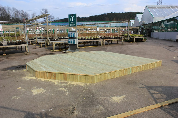 Platting laget for Plantasjen. Skal stå et drivhus til utstilling på plattingen
