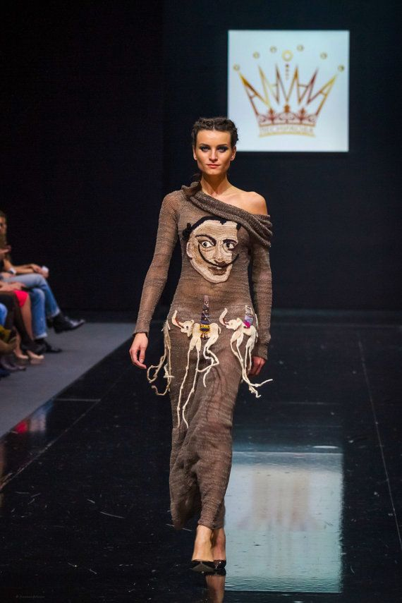 knitted handmade dress SALVADOR DALI for girls and