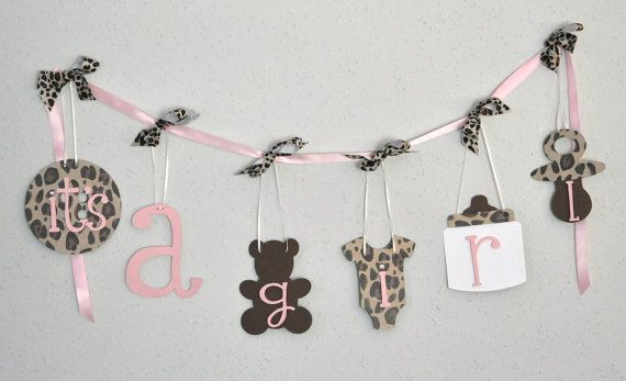 Cheetah baby shower decorations leopard and baby by ParkersPrints, $20.00