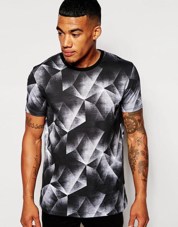 Imagen 1 de Camiseta skater holgado con estampado abstracto de rombos de ASOS
