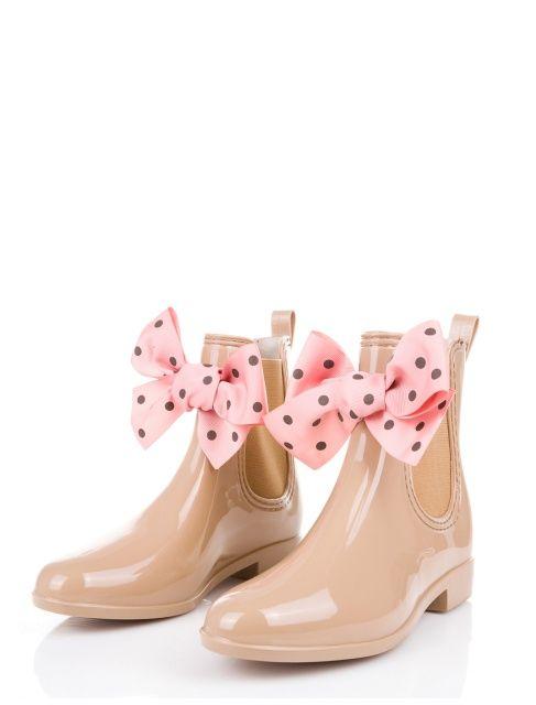 Beige wellies with pink bows ♥ / rubbers, wellingtons / Kalosze damskie z kokardami / www.gummiestore.com