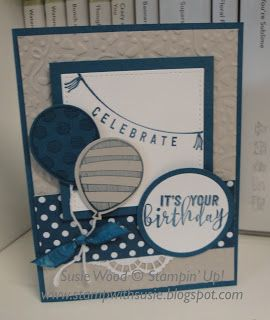 Stampin' Up!- I used the Confetti Embossing Folder & the Balloon Bouquet Punch on this fun birthday card!