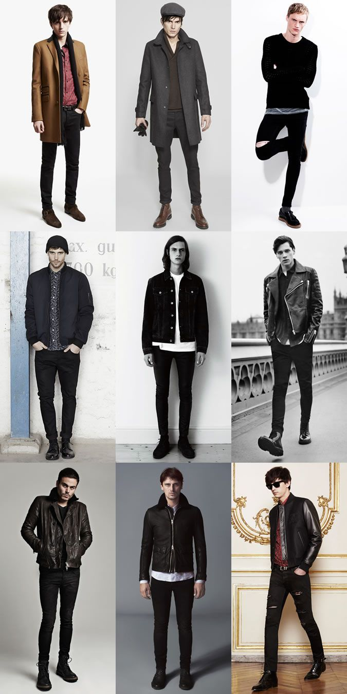 Men's 2014 Autumn/Winter Fashion Trend: Rockabilly Style with dark or black skinny and slim fits denim jeans Lookbook Inspiration