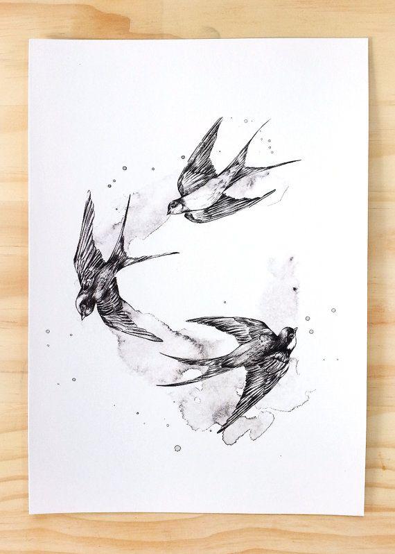 Black Swallows bird print A4 - Contemporary art print of pencil and watercolour…