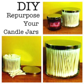 1. Use and enjoy your candle.  2. When burned completely, remove excess wax and clean.    a. If wax is cold, place in pot with         shallow water and boil until wax is melted.     b. Pour out excess wax and wipe clean with paper towel. Wash with soap and water.  3. Fill glass jar with goodies, store small items, or make your own candles.: Burned Completely, Fill Glass, Can, Excess Wax, Remove Excess, Place, Glass Jars