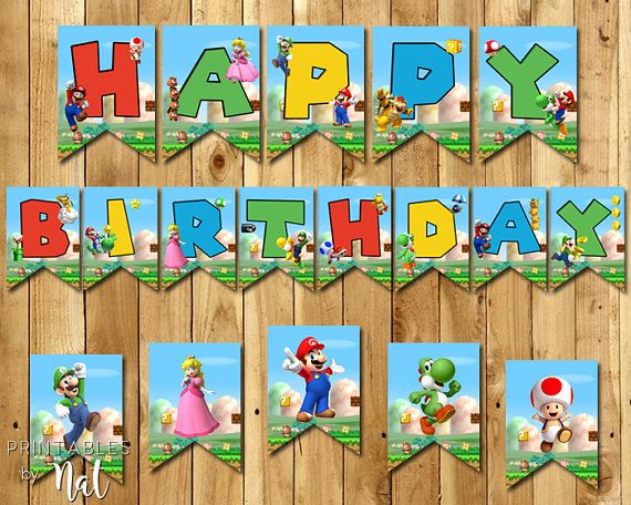 Hey, I found this really awesome Etsy listing at https://www.etsy.com/listing/508158056/super-mario-happy-birthday-banner-flags