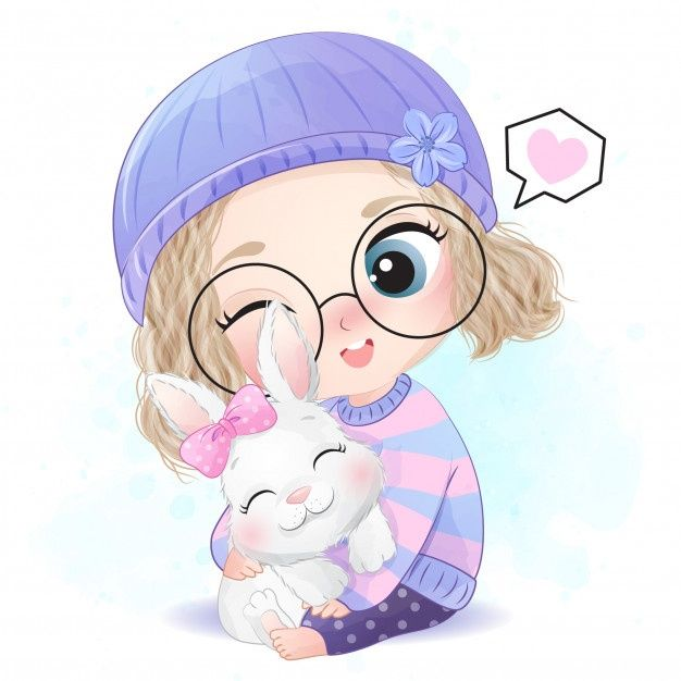 Cute Girl With Little Bunny Illustration Cute Cartoon Wallpapers Girls Cartoon Art Cute Cartoon Pictures