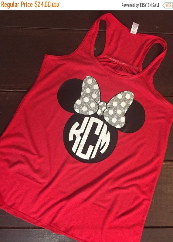 BLACK FRIDAY SALE Minnie Mouse Monogram Tank - Racerback Tank - More Colors Available - Disney Monogram Tank