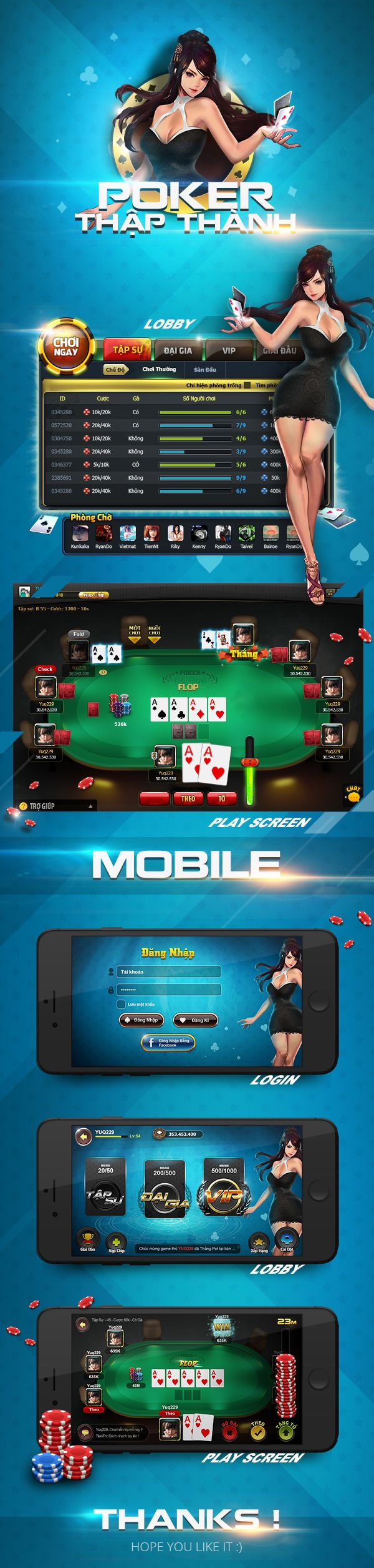 Poker game ui on Behance