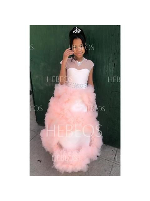 593d8c1bfec Ball Gown Jewel Short Sleeves Crystal Floor-Length Tulle Flower Girl Dresses  - Flower Girl