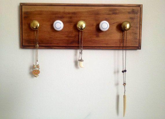 Handmade Repurposed Wood Jewelry Hanger. $30