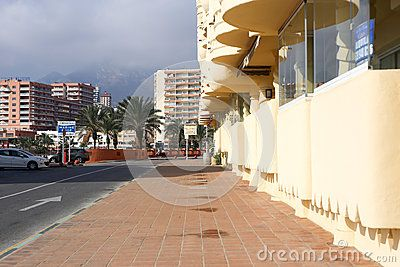 Street view puerto Marina Benalmadena Spain Andalucia.Location near Selwo Marina Delfinarium. Picture taken in december 2015.