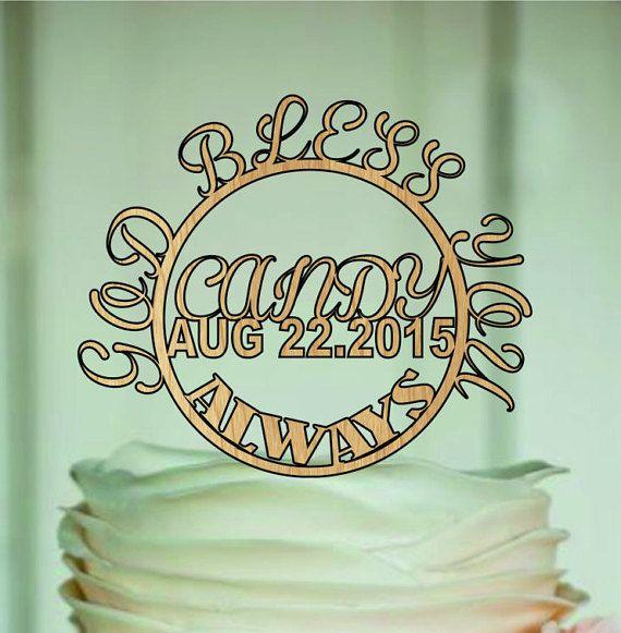 God Bless Cake Topper  babtism cake topper and by EDESIGNLASER