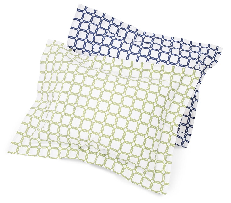 Barrington duvet covers and shams offer a graphic, modern print in classic Navy and bright Chartreuse. Italian-woven Egyptian cotton percale, AND Italian-printed.