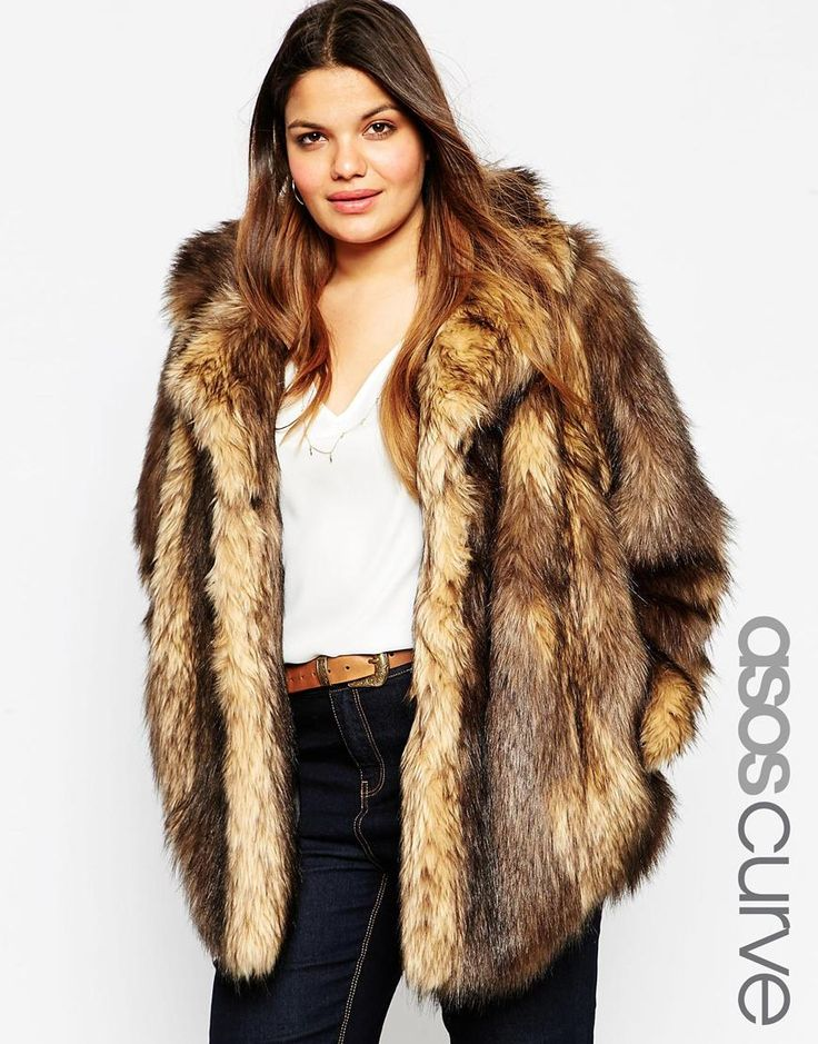 Image 1 of ASOS CURVE Vintage Faux Fur Coat